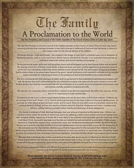 """In a world where marriage is imperiled and the traditional family is attacked, one inspired document in particular provides clarity and guidance. Modern prophets and apostles say """"The Family: A Proclamation to the World"""" is even more relevant today than when it was first issued in 1995. lds.org/ensign/2013/09/still-a-clarion-call ... Learn more facebook.com/FamilyProclamation and #passiton. #GodsDesign #LordsPlan #Gender #Marriage #Family #Parents #Children #JesusChrist #ShareGoodness"""