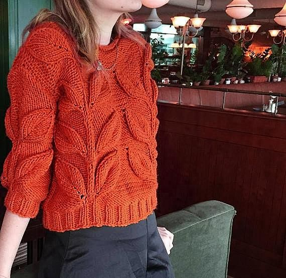 ee6fce6d081465 Women cable knit sweater, mustard burnt orange knit short jumper chunky knit  pullover bulky hand kni