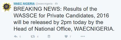 WAEC GCE 2016 Result Is Out via www.waecdirect.org - WASSCE