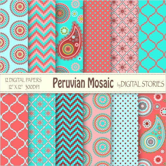 """Paisley Digital Paper: """"Peruanische Mosaik"""" rot Türkis Pink paisley Scrapbook Papier für Einladungen, Karten, Hintergrund"""