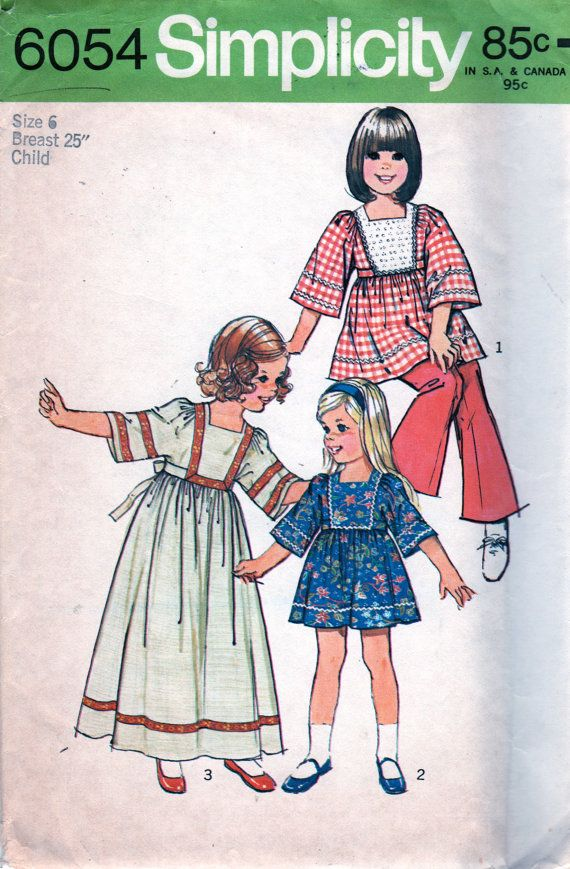 Simplicity 6054 1970s Girls CAFTAN Pattern Mini Maxi  childs vintage sewing pattern by mbchillsSewing Pattern, 1970S Simplicity, 1970S Girls, 6054 1970S