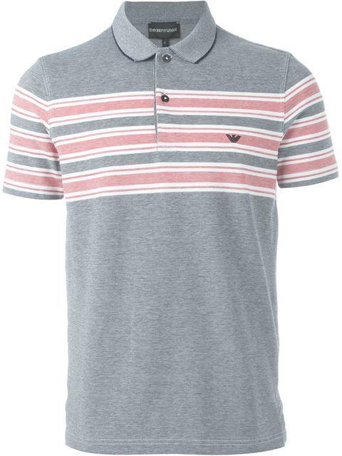 EMPORIO ARMANI Stripe Detail Polo Shirt. #emporioarmani #cloth #shirt