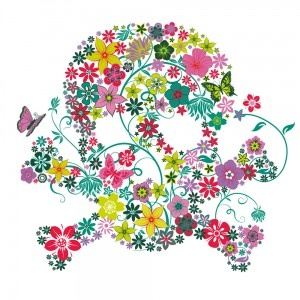 t-shirt tête de mort fleurs d'été  http://www.cassandre-deco.com/t-shirts/156-t-shirt-tete-de-mort-fleurs-color.html