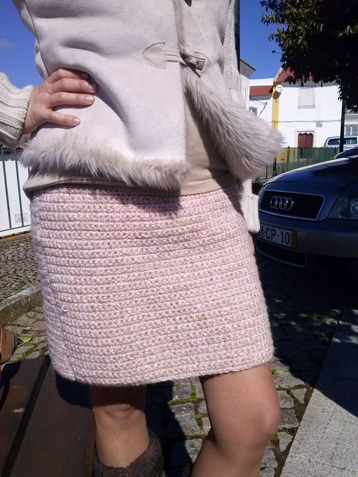 Hand made Channel inspiration skirt. Crocheted with 3 diferent yarns mixed. I love the result