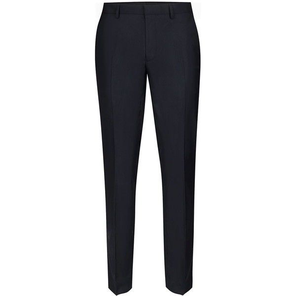 TOPMAN Navy Twill Skinny Fit Suit Trousers (170 DKK) ❤ liked on Polyvore featuring men's fashion, men's clothing, men's pants, men's dress pants, blue, mens zip off pants, old navy mens pants, mens skinny pants, mens blue pants and mens skinny fit dress pants