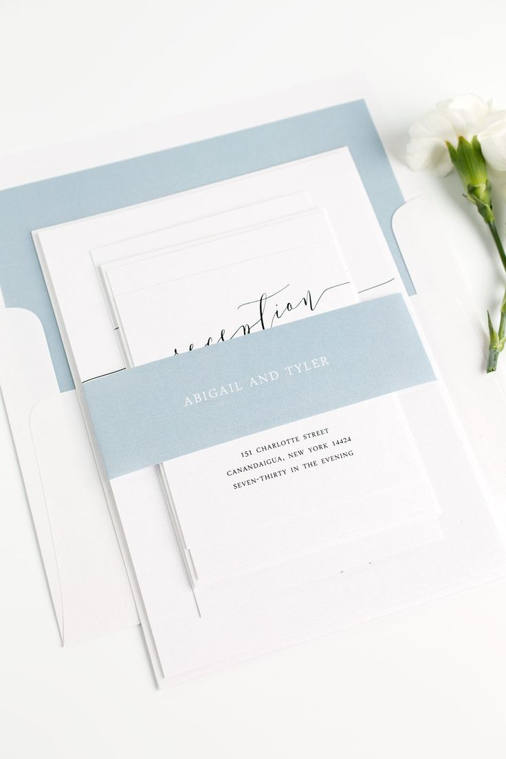 Loving these dusty blue wedding invitations!  The calligraphy on the inside is GORGEOUS.  Click through for ordering details and a free sample set!