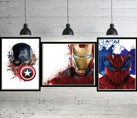 3 Set Iron Man Captain America Spiderman Marvel Superhero