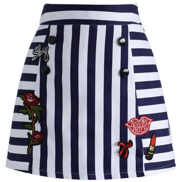 Chicwish Kiss Me Patched Bud Skirt ($38) ❤ liked on Polyvore featuring skirts, blue, button skirt, blue stripe skirt, nautical striped skirt, nautical skirt and rose skirt