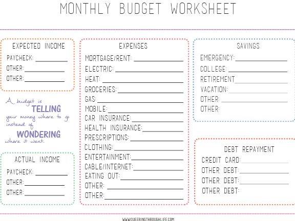 The 25+ best Monthly budget worksheets ideas on Pinterest - monthly budget