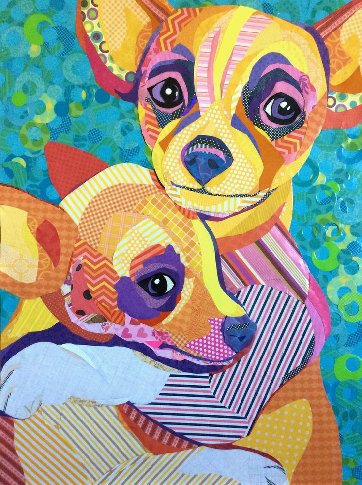 """""""Safe With Me"""" cut paper collage art on 24""""x32"""" board. Best in Show - Ciel Gallery 1/8/16. By Laura Yager. Dog artwork, chihuahua dog artwork"""