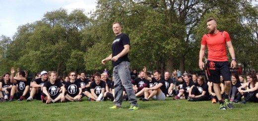London spartan race bootcamp in hyde park with Joe De Sena and Uk spartan race director Richard Pringle