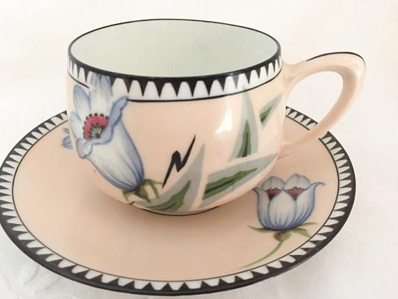 RS Germany Pink Porcelain Teacup and Saucer Art Deco Floral