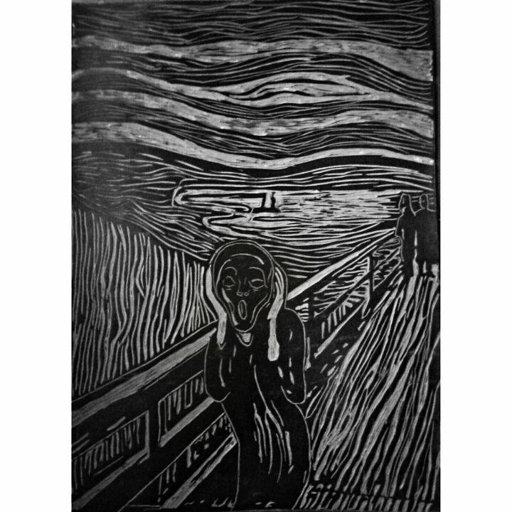 linolium, my work, art, Edward Munch, Scream