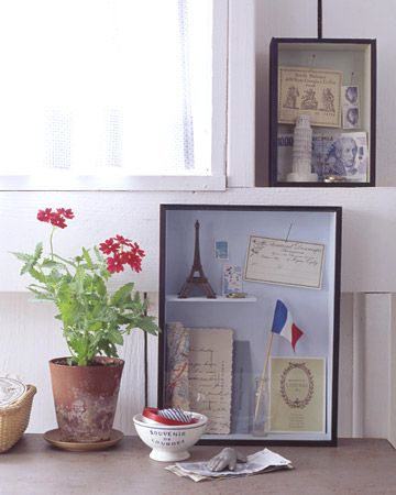 A twist on vacation keepsakes - a shadow box allows you to hang it on the wall and see all the trips in a glance. And I can use all the scrapbooking stuff I have to decorate it!