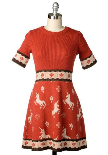 Vintage Holiday Unicorn Dress. thats kind of awesome