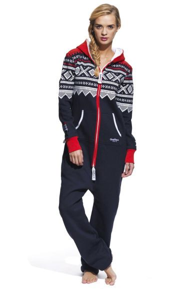 Onesies for Adults are a hot trend! Marius Onesie in Navy/Red/White
