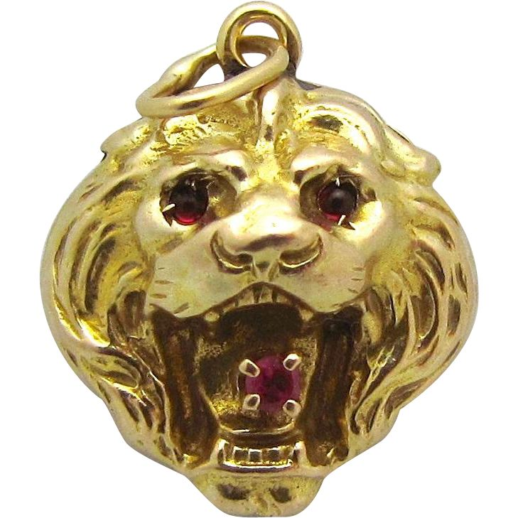 Antique Victorian 14K Yellow Gold Jeweled Lion with Rubies Fob Charm from charmalier on Ruby Lane