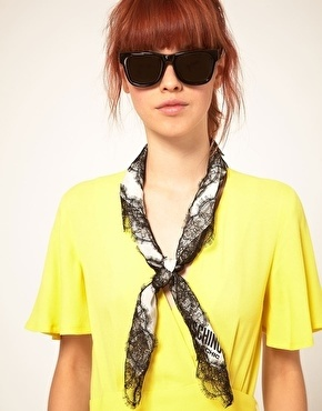 Moschino Cheap & Chic Lace Trim Scarf - StyleSays