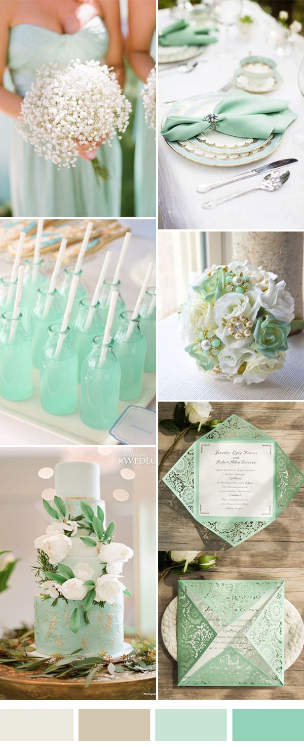 elegant white and mint wedding color ideas