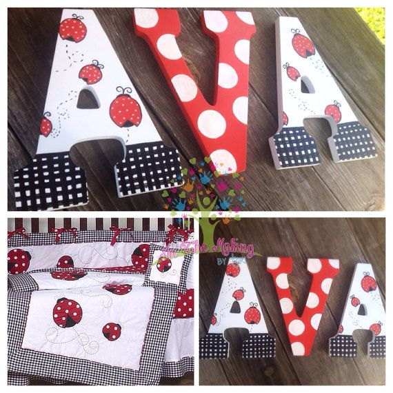 Custom Painted Lady Bug Theme Nursery Letters By