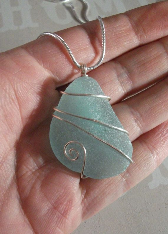 Aqua Sea Glass Silver Wirewrapped Bridesmaid by byNaturesDesign