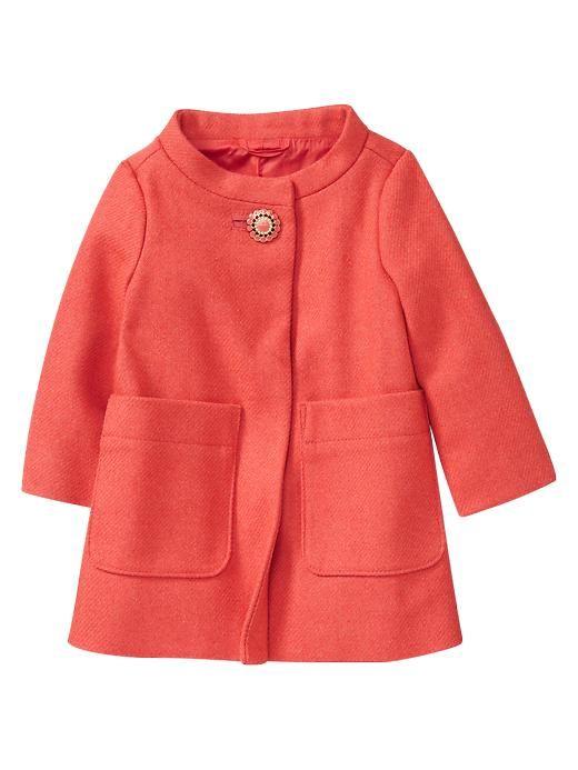toddler girls coral Wool dress coat