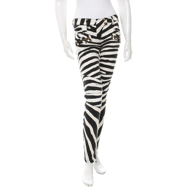 Pre-owned Balmain Zebra Print Biker Jeans ($695) ❤ liked on Polyvore featuring jeans, animal print, balmain jeans, zip jeans, animal print jeans, zebra print jeans and print jeans