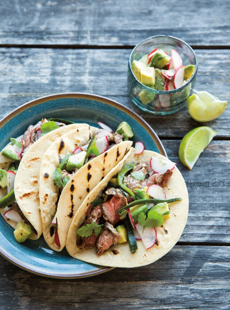 Poblano chiles, crunchy radishes and creamy avocados add a hit of freshness to grilled skirt steak in these satisfying tacos. Let everyone assemble their own for casual, easy serving.   Steak ...
