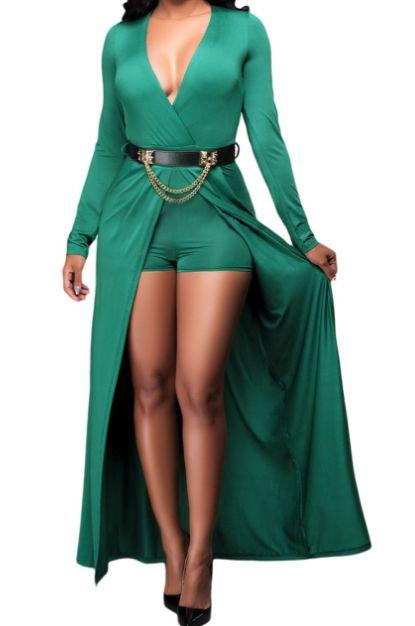 Combinaison short effet robe vert ceinture chaîne - bestyle29.com