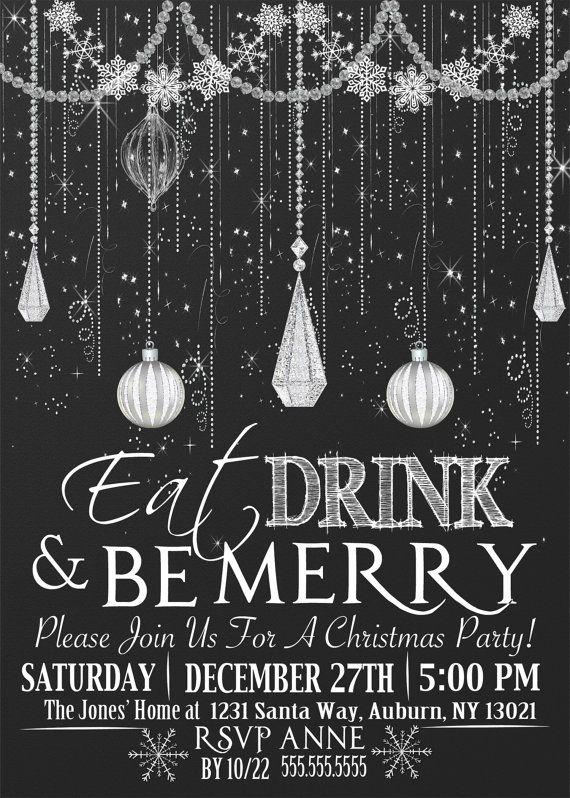 Custom Glitter Christmas Party Invitations, Chalkboard Ornament Classy Christmas Party invites, several styles, glitter & chalkboard