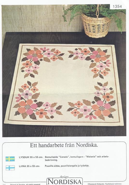 Mönster Nordiskas Brodera Duk med blommor på Tradera.com -