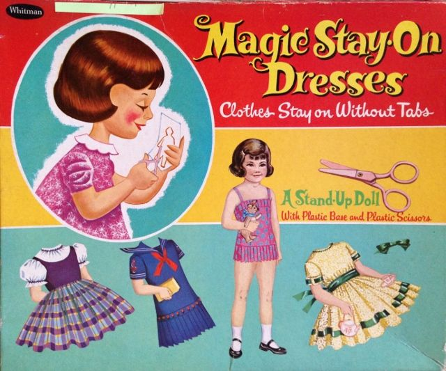 Paper doll from 1960 with Magic Stay-On Dresses