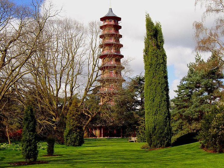 Pagoda, Kew Gardens, London  n the South East corner of Kew Gardens stands the Great Pagoda (by Sir William Chambers), erected in 1762, from a design in imitation of the Chinese Ta. The lowest of the ten octagonal storeys is 49 feet (15 m) in diameter. From the base to the highest point is 163 feet (50 m). http://ourlondontaxi-london.blogspot.com/2012/02/royal-botanic-gardens-kew.html