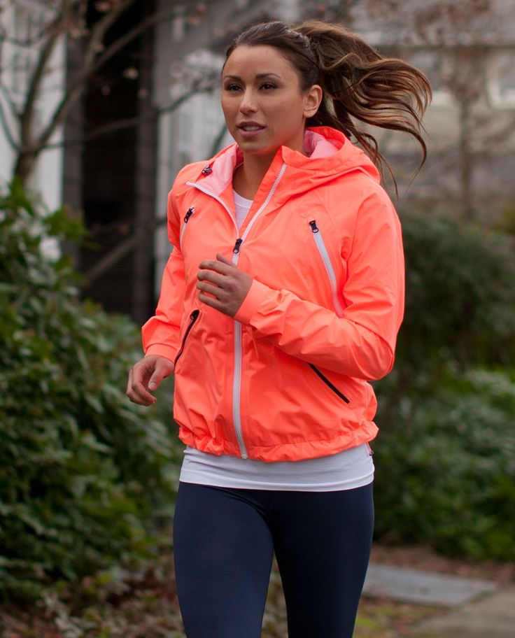 "Lulu Lemon. One of the best ""running"" jackets. Lightweight, but keeps you warm & insulated on early morning runs."