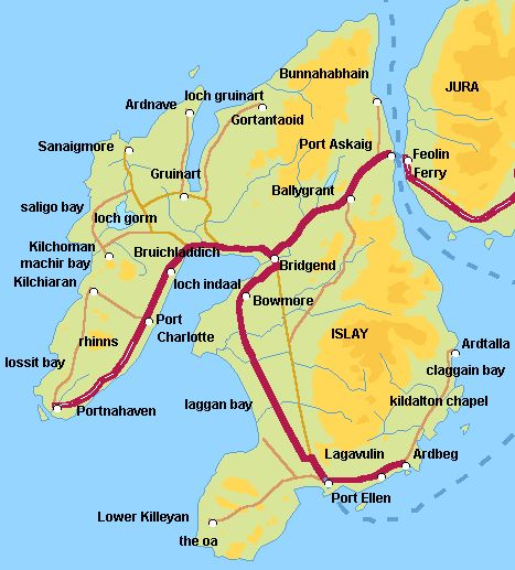 Isle of Islay Scotland (Port Ellen, Ardbeg, Kidalton Chapel, Bowmore, Bridgend, Bruichladdich, Port Charlotte, Portnahaven)