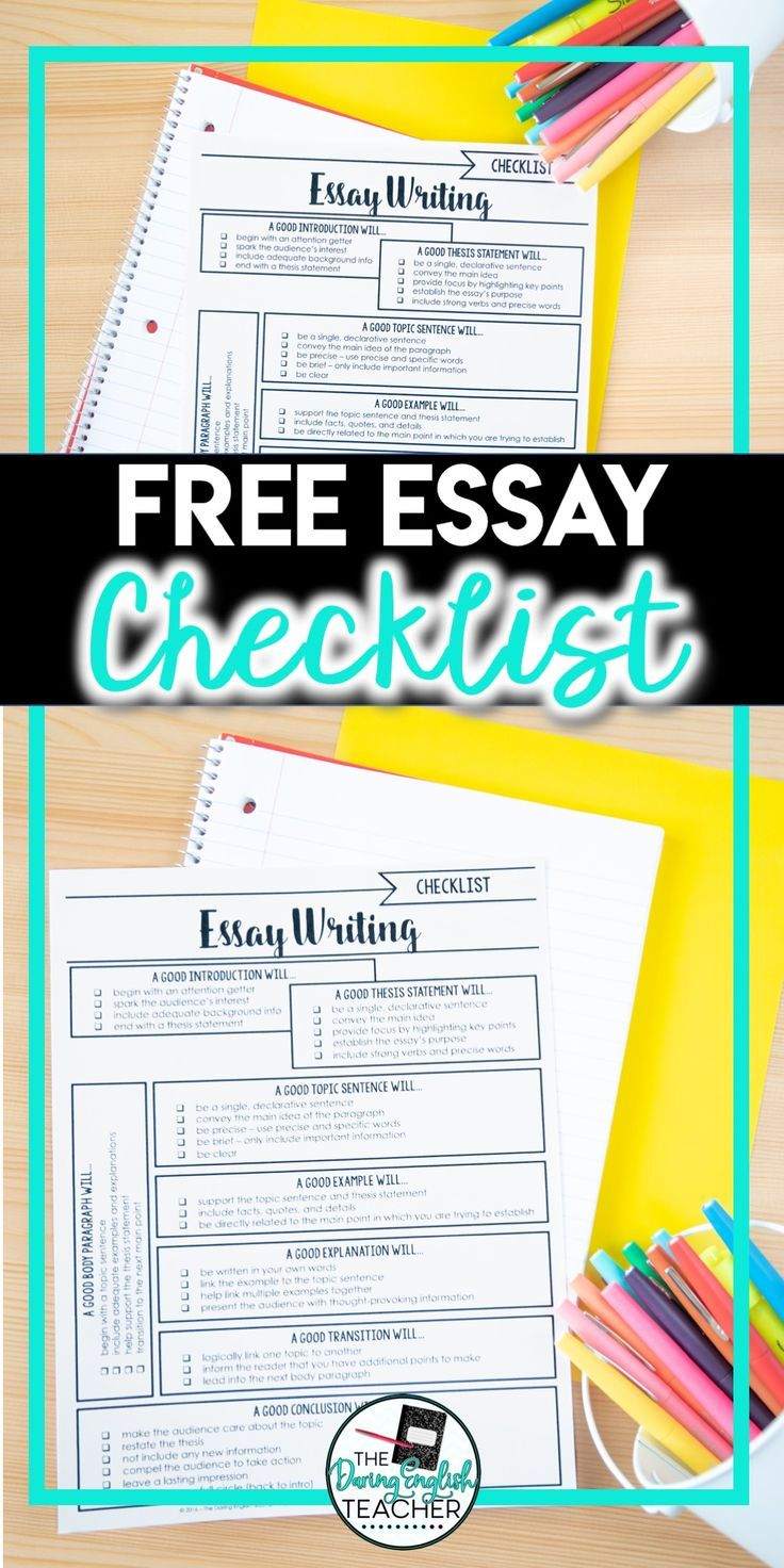 Essay Learning English  Christmas Essay In English also Science In Daily Life Essay Free Comprehensive Essay Checklist  Middle School Writing  Interesting Essay Topics For High School Students