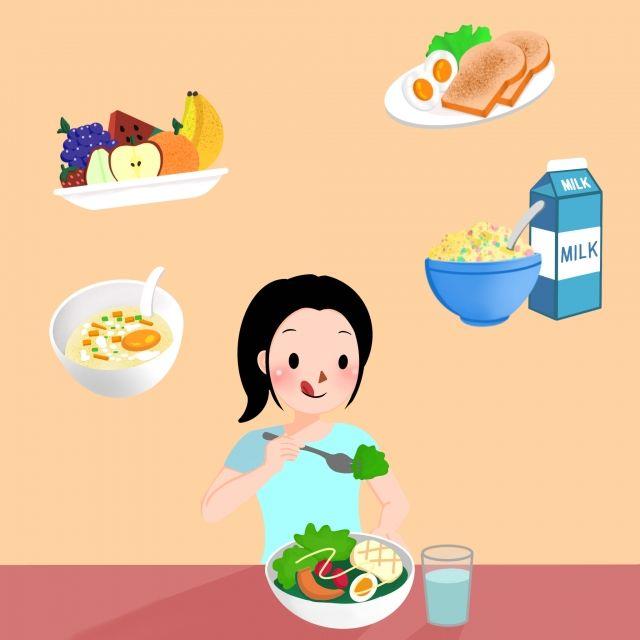 فتاة الكرتون مع وجبة الإفطار مجموعات وجبات صحية في الصباح الفطور وجبة افطار يتناول الطعام Png وملف Psd للتحميل مجانا Girl Cartoon Cartoon Breakfast Set