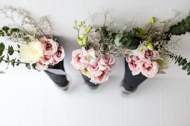 Watson in the Woods, three Posies Cone wrapped bouquet, Hand Tied Bouquet, Light pink flowers including roses, anastasia, Limonium misty white, Spiral baby eucalyptus.