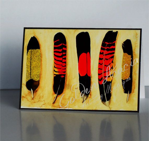 Black cockatoo Feathers Greeting Card: Red and Yellow tailed, From my watercolour painting of the large and majestic Australian native birds on Etsy, $5.00 AUD