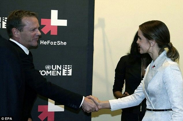 Emma Watson shook hands with HeForShe campaign supporter Kiefer Sutherland