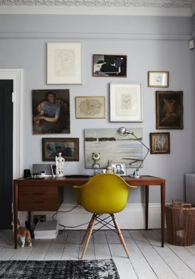 Mustard Eames chair. Grey, wood mustard colour combo. Random picture display.