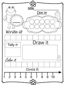 Pick a number 1-10. Practice dotting it, writing it, tally it, draw a picture adding to that number, color in the correct squares, and circle it on a number line. Great for kindergarten - 2nd grade.