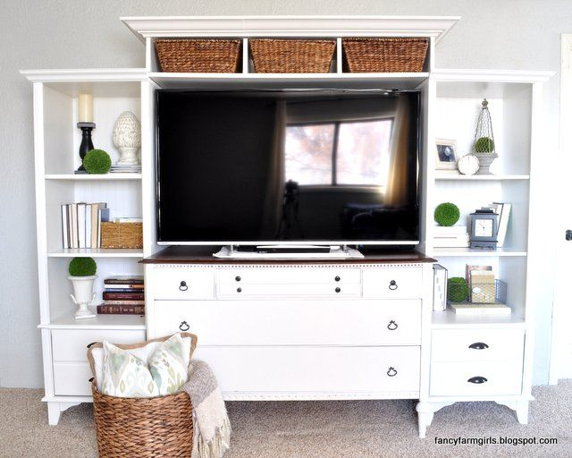 A really great tutorial on building your own media center with two old bookcases and a dresser