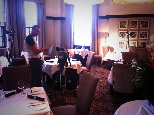 Setting up the equipment for the latest shoot in a wonderful Yorkshire hotel