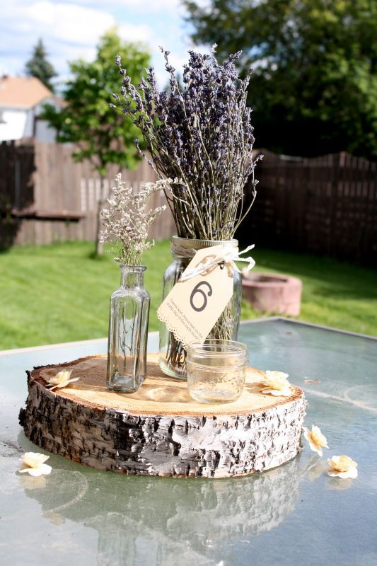 love the idea of a cross section of a tree for the base of a centerpieceTrees Rings Centerpieces, Centerpieces Ideas, Centre Piece, Cupcake Centerpiece, Pretty Centerpieces, Lavender Tables Centerpieces, Lavender Center Pieces, Lavender Centerpieces, Wood Base Centerpiece