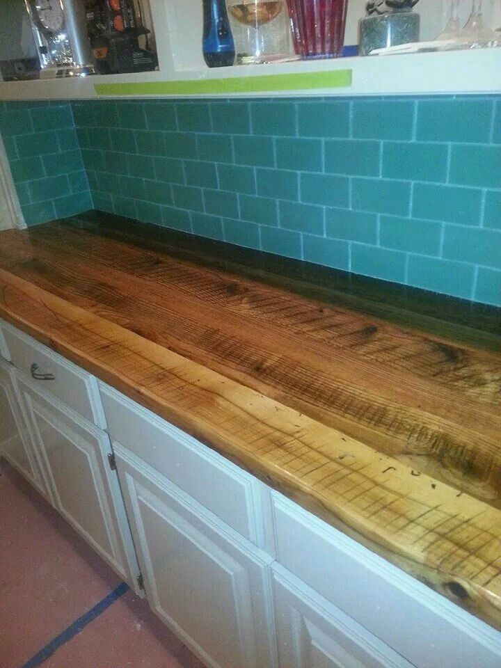 Not A Bar But A Pretty Countertop Tom Built From Wood We Reclaimed From A  Falling