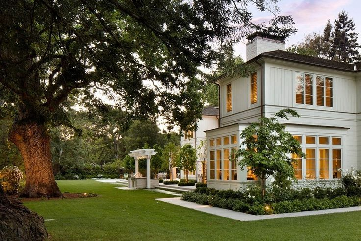 beautiful garden and white transitional house | usual house
