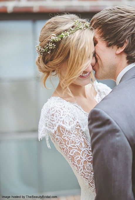 Rustic Wedding Hair - Low Updo with Babys Breath Floral Headband