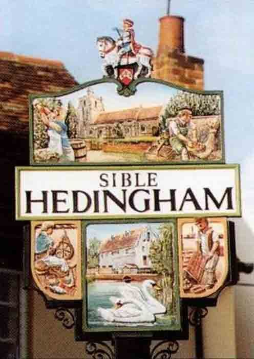 Sible Hedingham village sign in Essex, England. The last recorded case of 'swimming' a witch took place in Sible Hedingam in 1863. A man named Dummy was tied up and thrown into the brook (which still flows through the village) as 'an ordeal by water' He later died of shock and pneumonia