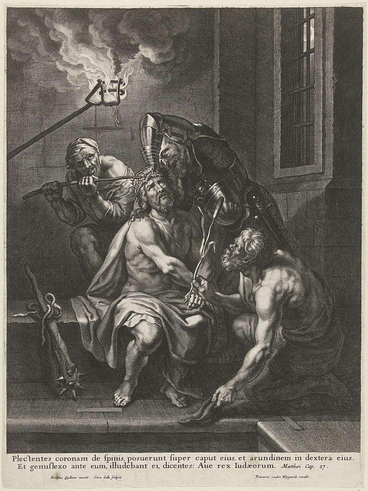 Cornelis Galle (I) | De doornenkroning, Cornelis Galle (I), Frans van den Wijngaerde, 1610 - 1650 | Christus zit in het gevangenis en twee beulen zetten hem de doornenkroon op. Een man in harnas drukt de kroon goed vast. Een andere man toont Christus een rietstengel. Onder de afbeelding een Latijnse bijbeltekst uit Math. 27.